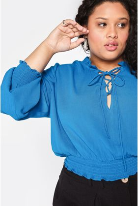 T110.4_Blusa_Plus_Size_Cropped_Lace_Up_Azul_1