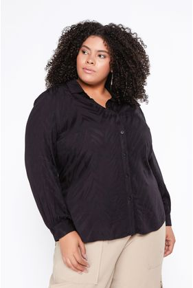 P063.3_Camisa_Plus_Size_Viscose_Jaquard_Animal_Print_Preto_1
